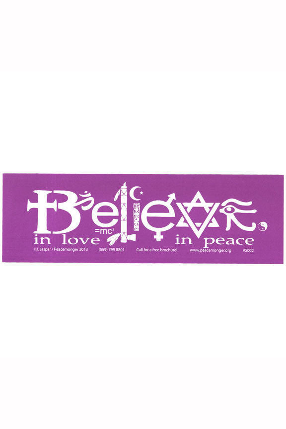 BELIEVE in Love in Peace Bumper Sticker - Multifaith Interfaith Vinyl Decal
