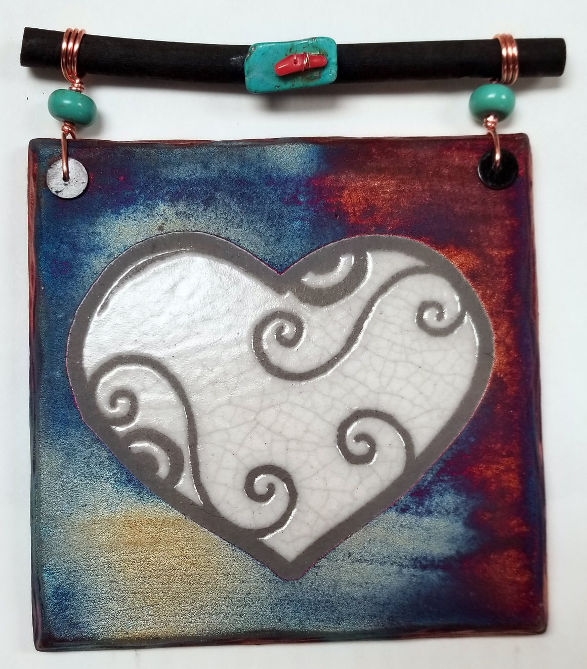 Blessed Heart Dreamcatcher Tile from Raku Pottery