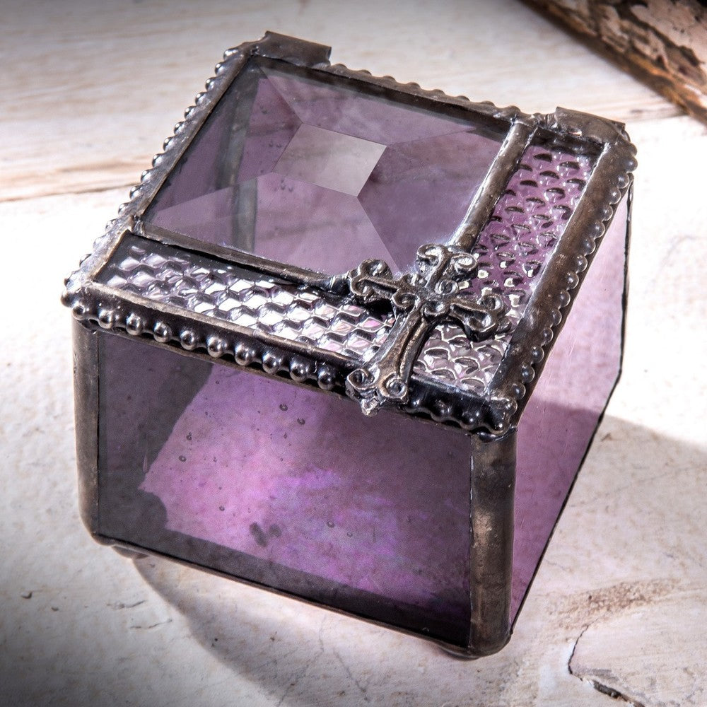 Keepsake Purple Beveled Glass Trinket Box with Cross