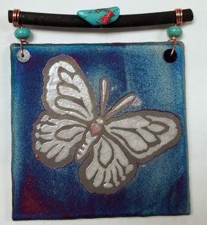 Butterfly Dreamcatcher Tile from Raku Pottery