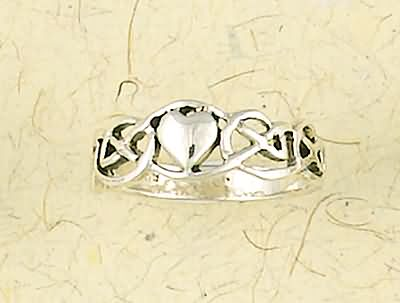 Heart in Celtic Weave Sterling Silver Ring