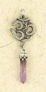 Om with Crystal ~ Pewter Necklace ~ Fantasy Collection