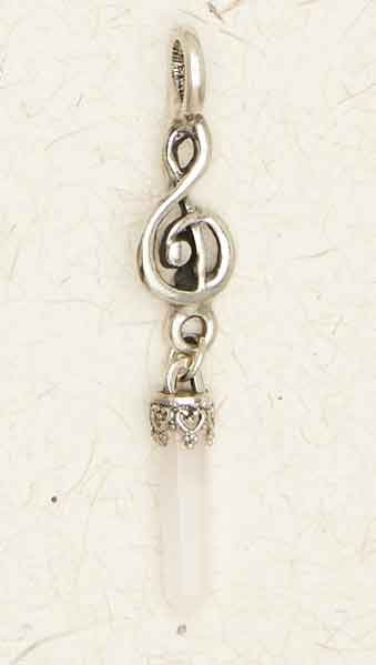 Music Note with Crystal ~ Pewter Necklace ~ Fantasy Collection