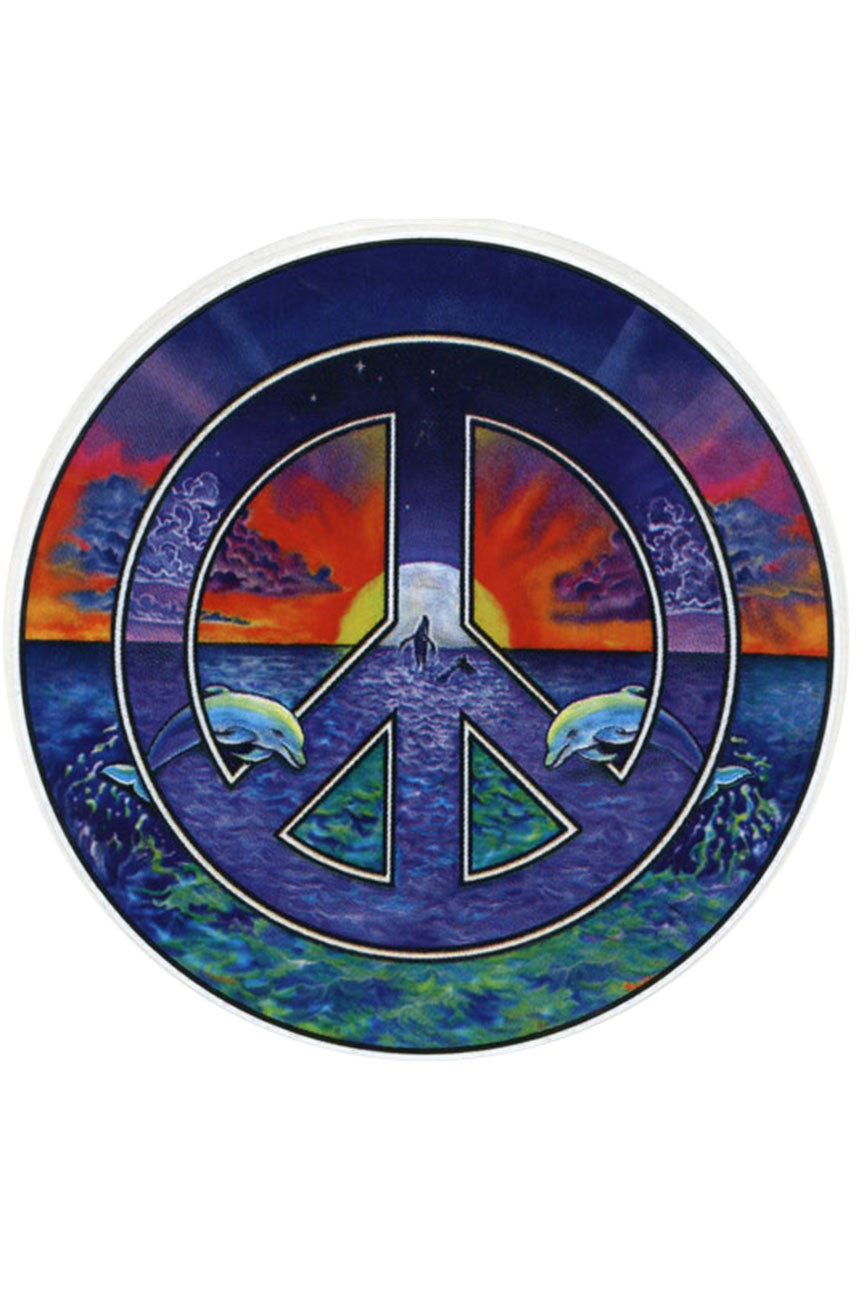 Dolphin Peace Sign Two-Sided Window Sticker