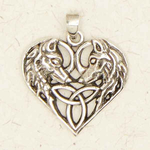 Celtic Wolves On Heart ~ Pewter Necklace ~ Eire, The Celtic Collection