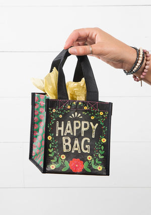 Floral Black Small Recycled Happy Bag (S)