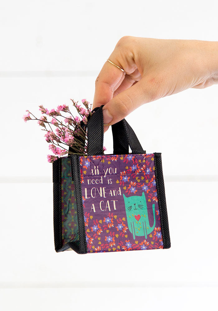 All you need is Love & a Cat Tiny Recycled Happy Bag (XS)
