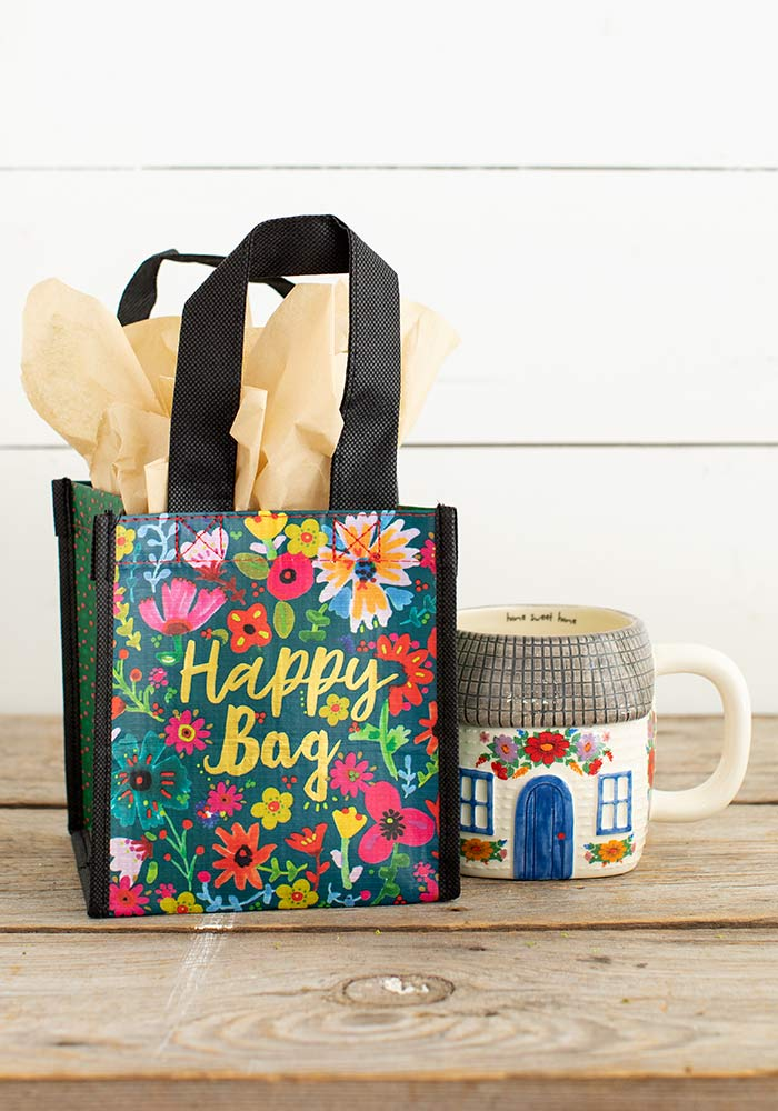 Teal Gold Floral Small Recycled Happy Bag (S)