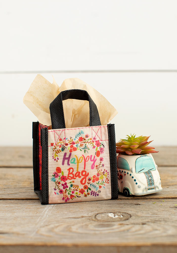 Multicolor Floral Wreath Tiny Recycled Happy Bag (XS)