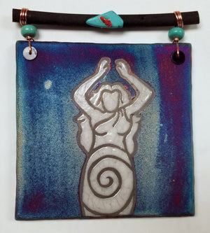 Goddess Dreamcatcher Tile from Raku Pottery
