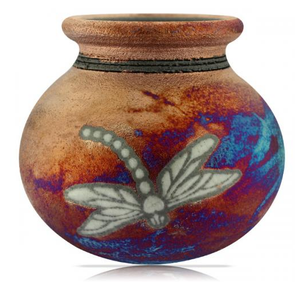 Dragonfly Silhouette Vase from Raku Pottery