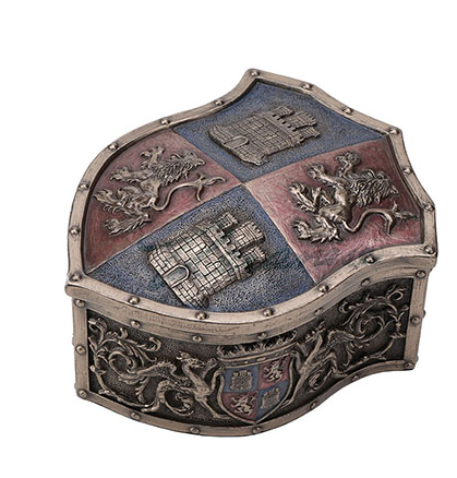 Lion Castle Crest Shaped Trinket Box