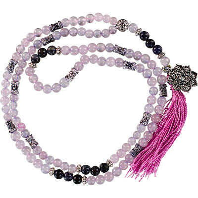 Lotus Rose Quartz & Lolite Mala
