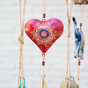 Henna Treasure Heart Bell Chime Handcrafted in India