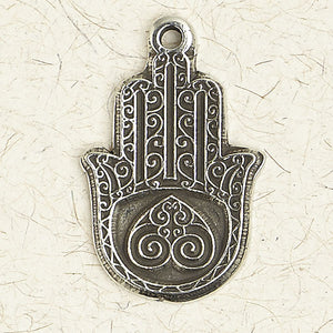 Hamsa Hand with Heart Palm ~ Pewter Necklace ~ Mitzvah, The Hebrew Collection
