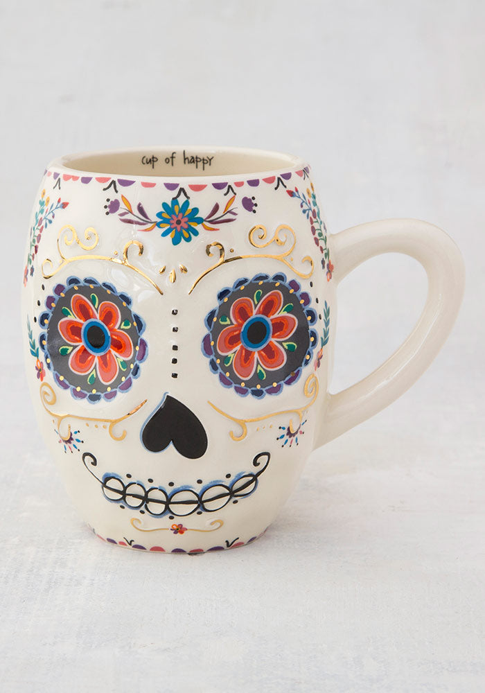 """Be Happy"" Sugar Skull Folk Art Mug"