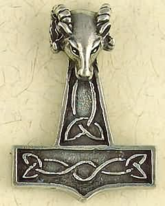 Thor's Hammer Ram's Head ~ Pewter Necklace ~ Odin, The Norse Collection