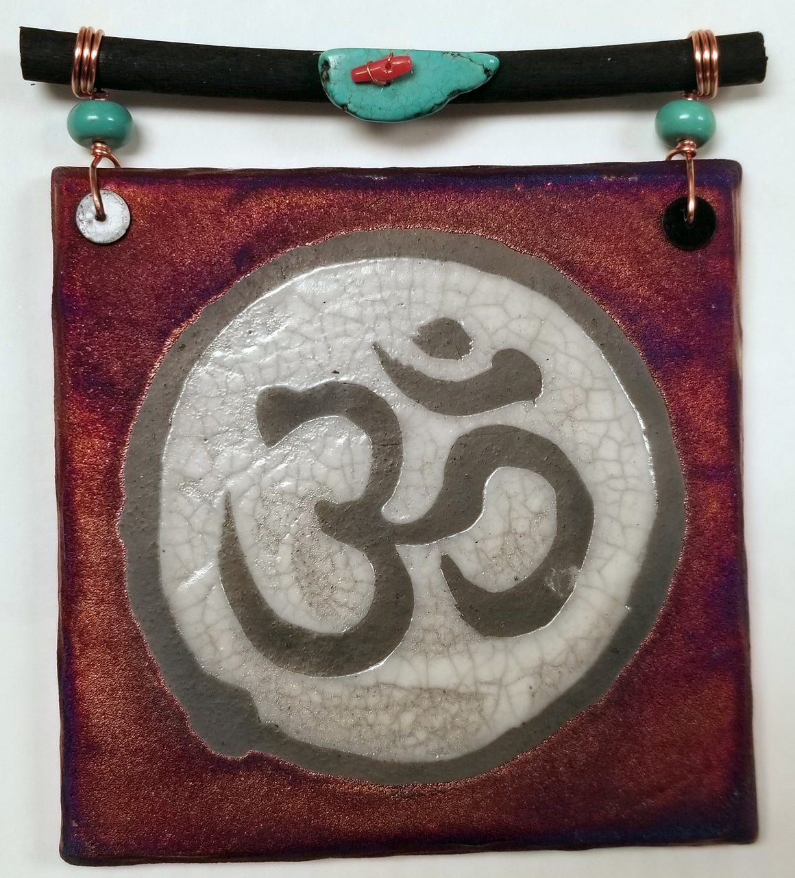 OM Dreamcatcher Tile from Raku Pottery