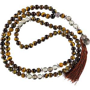 Owl Tiger Eye and Lemon Topaz Mala
