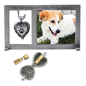 Paw Prints Heart Memorial Frame with Ashes Locket