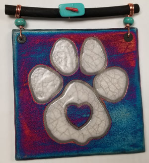 Paw Print Dreamcatcher Tile from Raku Pottery