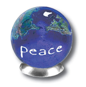 Peace Blue Earth Marble With Natural Earth Continents (18 Languages!)