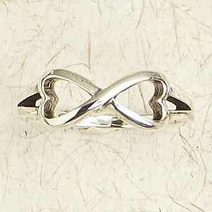 Infinity Symbol Hearts Sterling Silver Ring