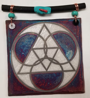 Sacred Geometry Dreamcatcher Tile from Raku Pottery