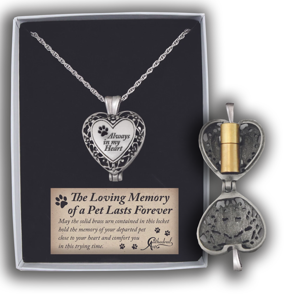 Always in My Heart Paw Print Locket with Ashes Holder