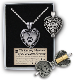 Paw Print Locket with Ashes Holder