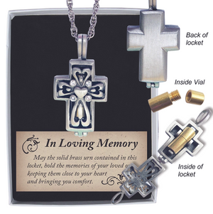 Cross Memorial Locket with Ashes Holder