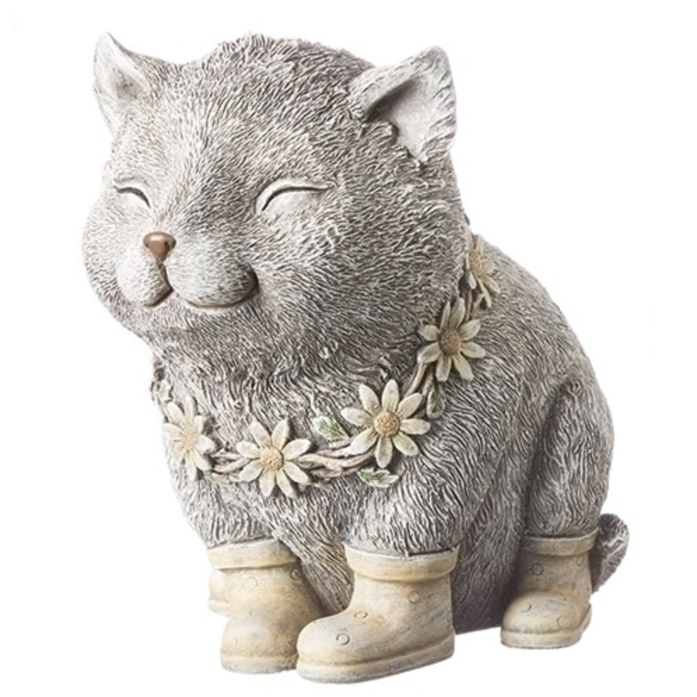 Cat in Rain Boots with Daisies Pudgy Pals Garden Statue