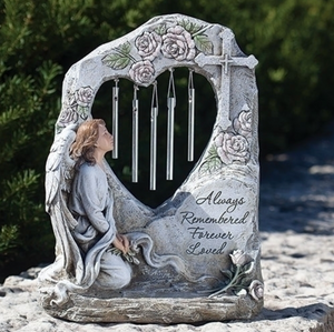 Always Remembered Forever Loved ~ Memorial Wind Chime Angel Garden Statue