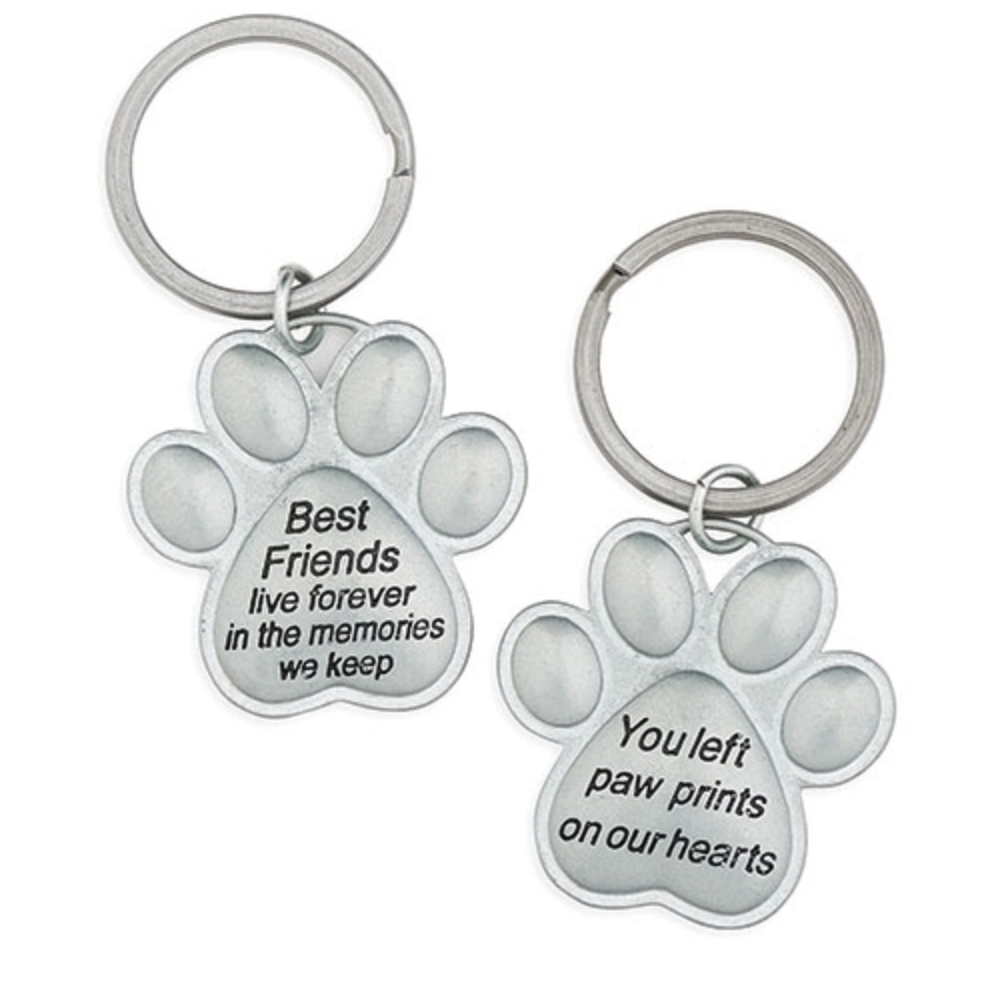 You Left Paw Prints on Our Hearts ~ Best Friends Paw Print Pet Keychain