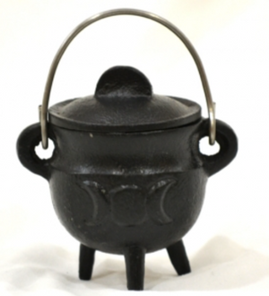"Triple Moon Cast Iron Cauldron w/lid 4.25""H 4.55""D"