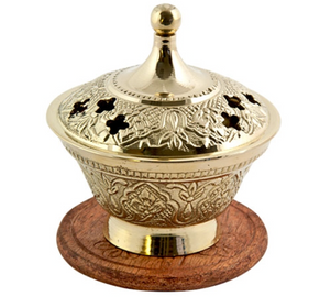 "Brass Carved Screen Charcoal Burner with Lid - 3.5""H"