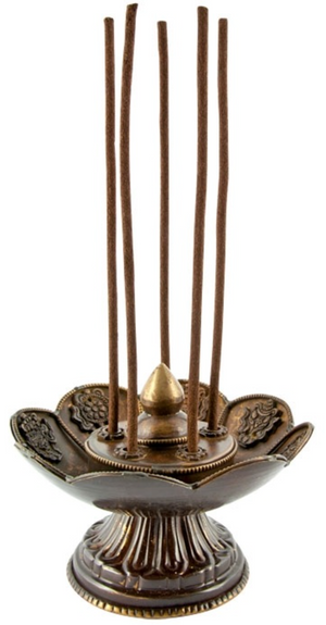 "Lotus Tibetan Incense Burner Antique - 3.75""H, 5""D"