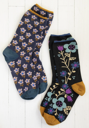Black Navy Floral Socks Set