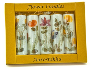 "5-in-1 Auroshikha Cylinderical Candle with flowers - 3"" length"
