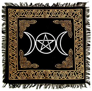 "Triple Moon in Gold & Silver Altar Cloth - 18"" x 18"""