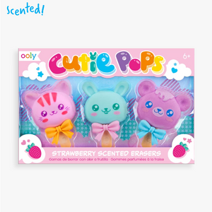 Cutie Pops Strawberry-Scented Puzzle Erasers Set