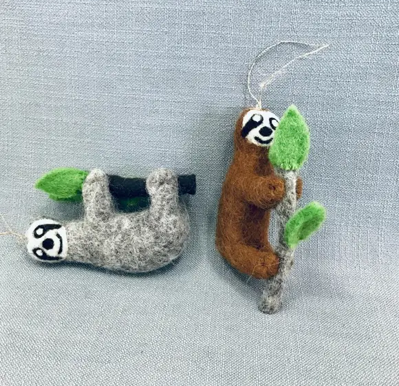 Sloth Hand-Felted Wool Ornament Handcrafted in Nepal