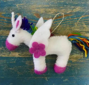 Rainbow Unicorn Hand-Felted Wool Ornament Handcrafted in Nepal