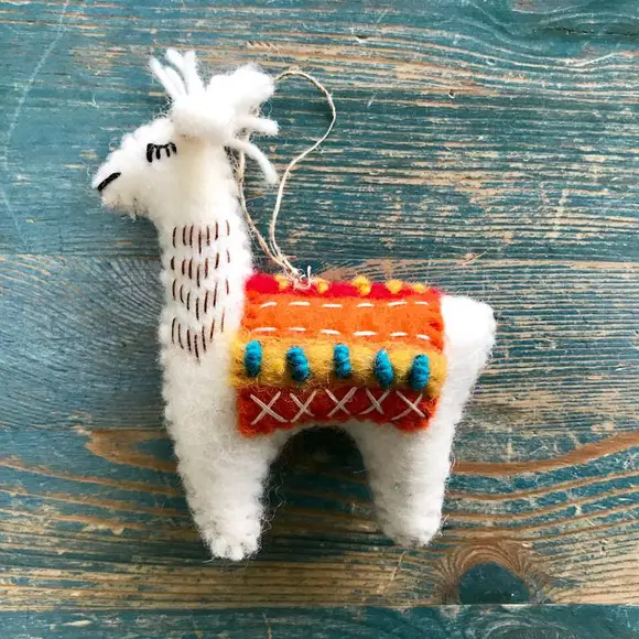 Llama Hand-Felted Wool Ornament Handcrafted in Nepal