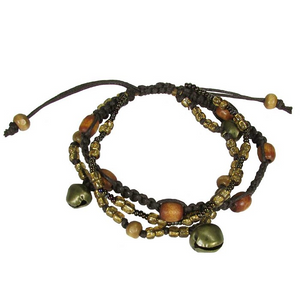 Earth Bell Adjustable Three Strand Bracelet Handcrafted in Guatemala