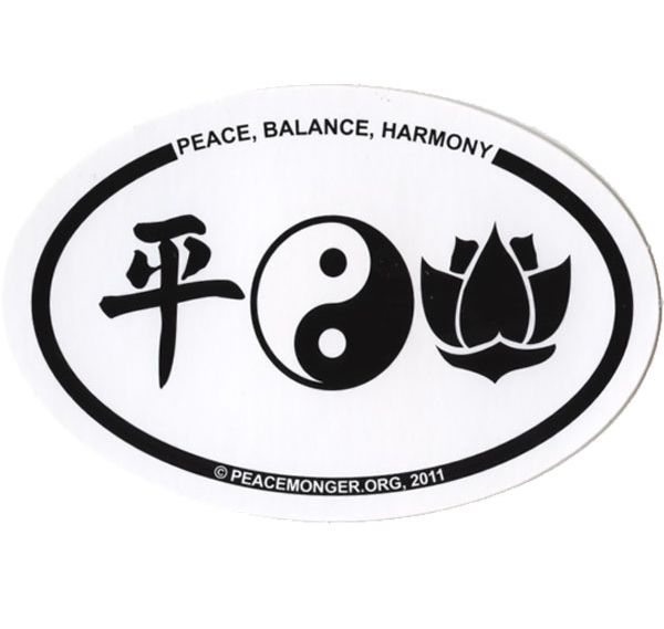 Free Peace, Balance, Harmony Mini Oval Sticker (free shipping)