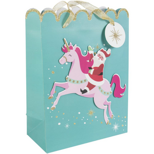 Whimsical Santa Unicorn Large Gift Bag