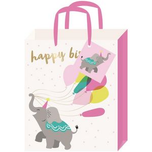 Balloon Elephant Goil Foil Accent Large Gift Bag