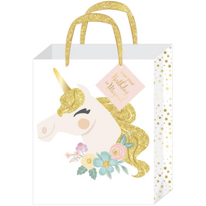 Magical Unicorn Birthday Gold Glitter Large Gift Bag