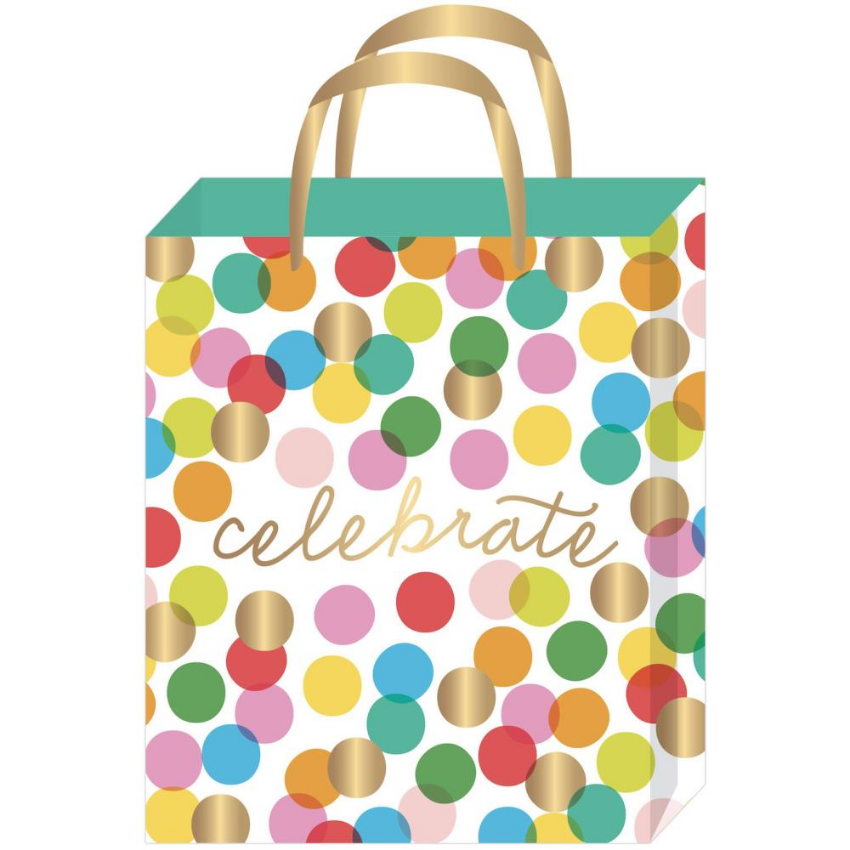 Celebrate Gold Foil Accent Dot Medium Gift Bag